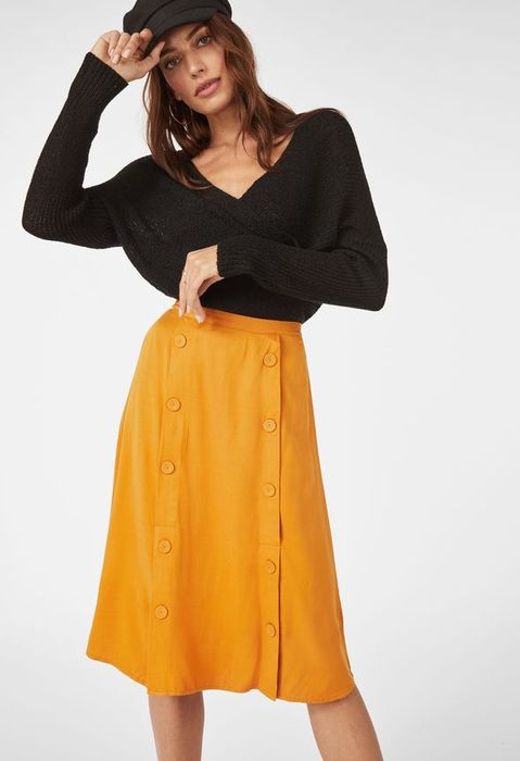 Double Button Front Midi Skirt at Justfab