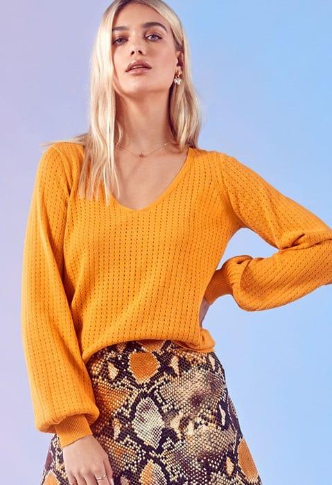 Blouson Sleeve Pullover at Justfab