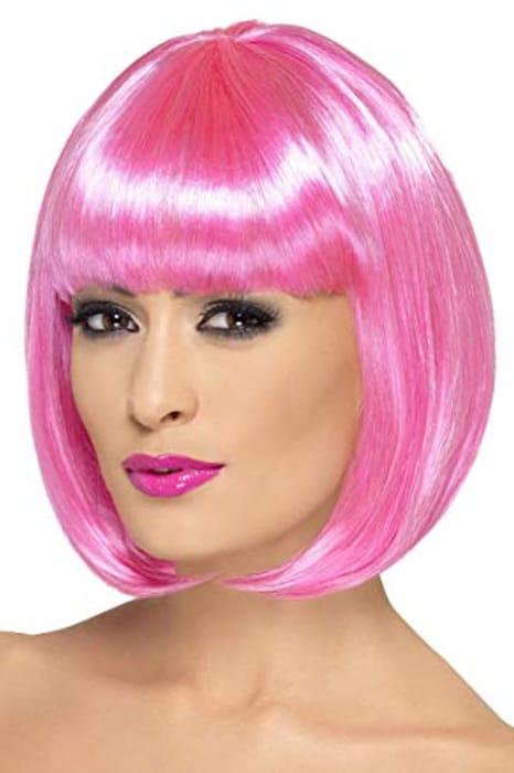 Smiffys 12-Inch Partyrama Wig Short Bob with Fringe - Pink