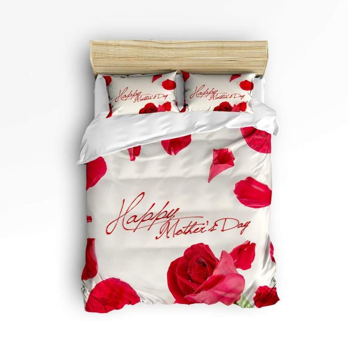 Duvet Cover Set Bed Sets,Red Rose Flower Pattern Bedding Sets