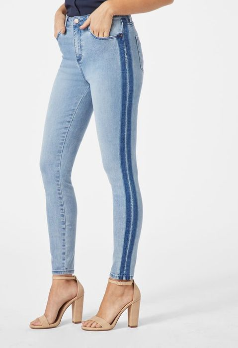 High Waisted Side Stripe Skinny Jeans at Justfab