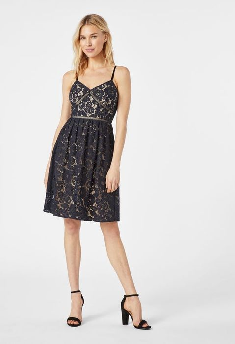Strappy Lace Fit and Flare Dress at Justfab