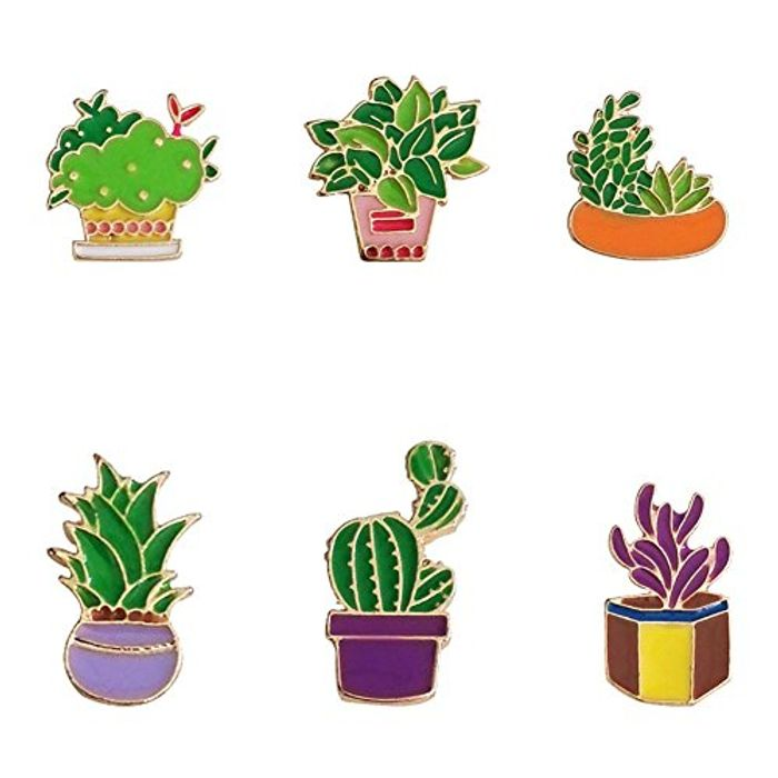 6pk Cute Enamel Cactus Plant Pin Badges at Amazon - Only £1.94!