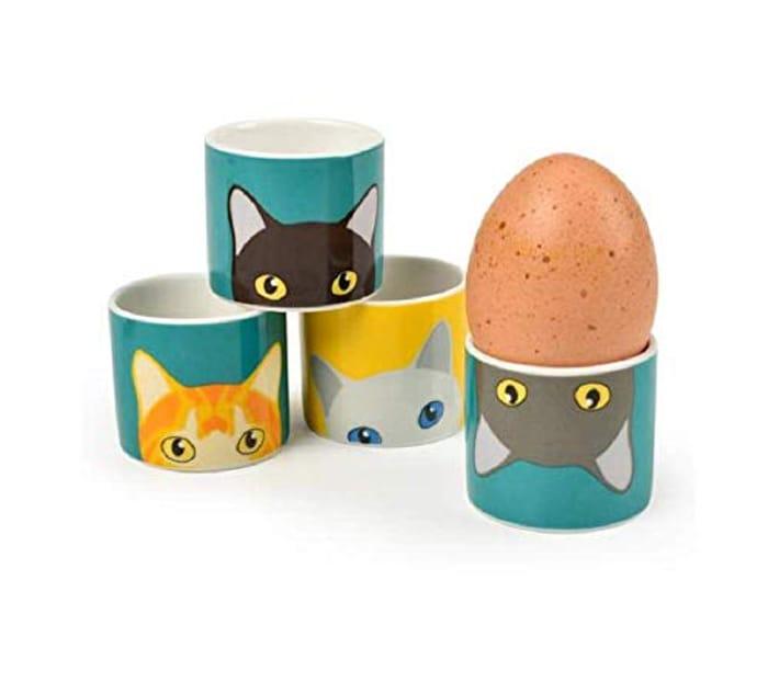 Burgon & Ball Creaturewares GCR/EGGCAT Doris' Cat Set of 4 Fine China Egg Cups