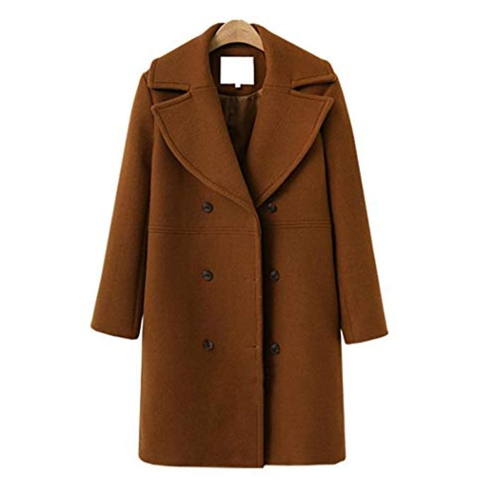 Women Casual Turn-Down Collar Long Sleeve Solid Coat - Only £20.99 Delivered