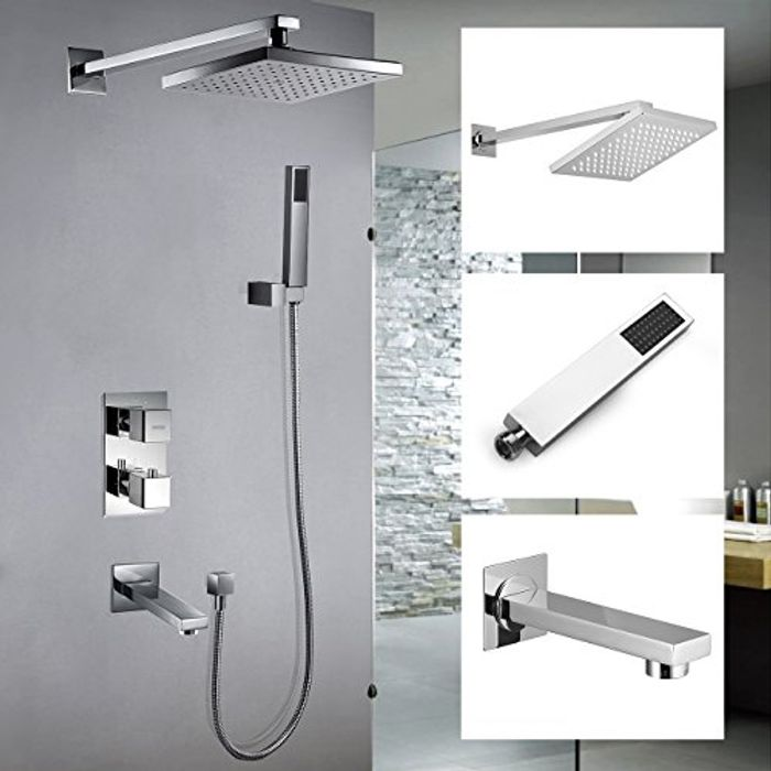 Thermostatic Bathroom Shower System Mixer Chrome Shower Mixer Head Top