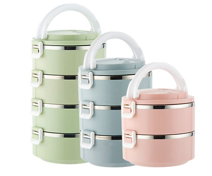 1, 2, 3 or 4 Layer Portable Food Containers - 6 Colours from £5.98 Delivered