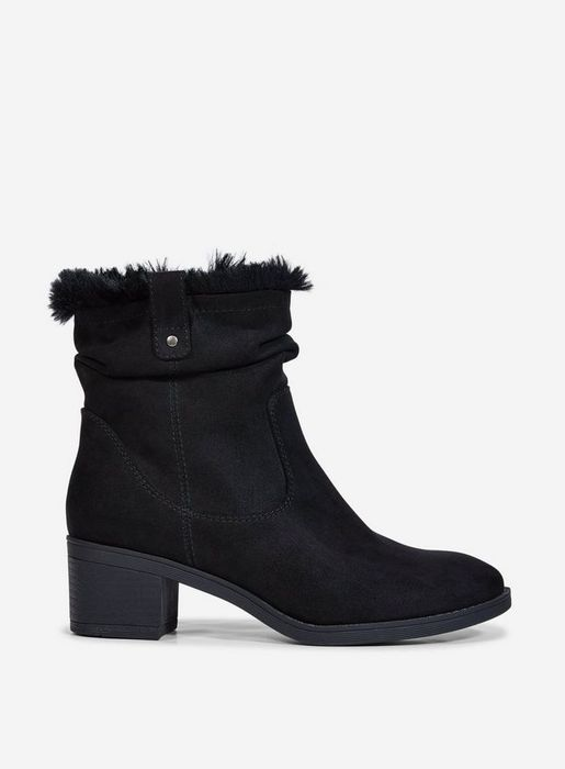 Black 'Moscow' Ruched Ankle Boots Was £35.00 Now £28.00