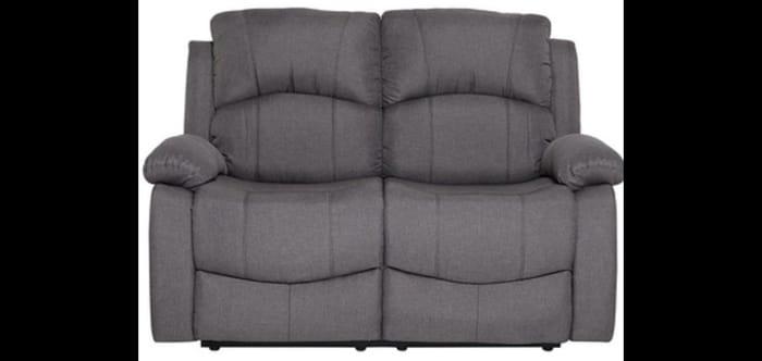 Fabric 2 Seater Recliner Sofa - Grey