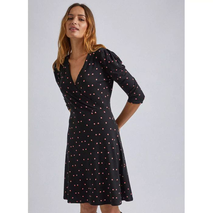 Cheap Dorothy Perkins Black Square Geometric Puff Sleeves Wrap Dress Only £18.2!
