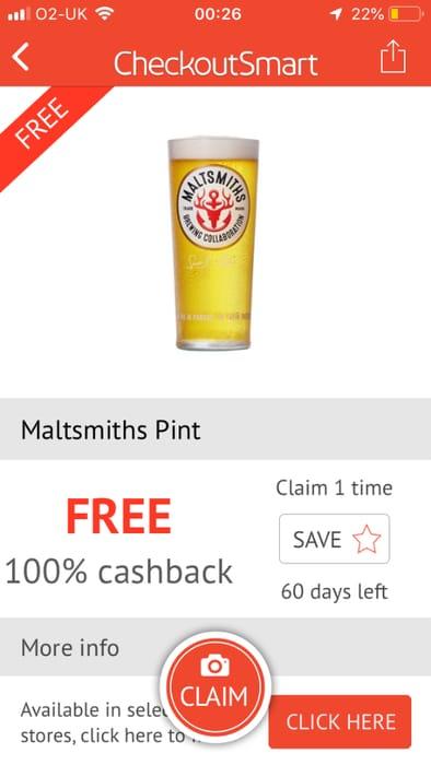 Free Pint of Maltsmiths from a Maltsmiths Pub via Checkoutsmart App