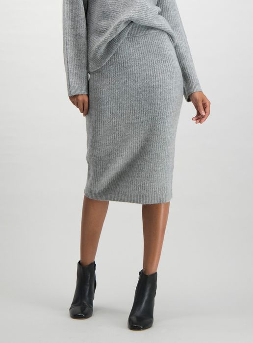 Grey Ripple Knitted Pencil Skirt