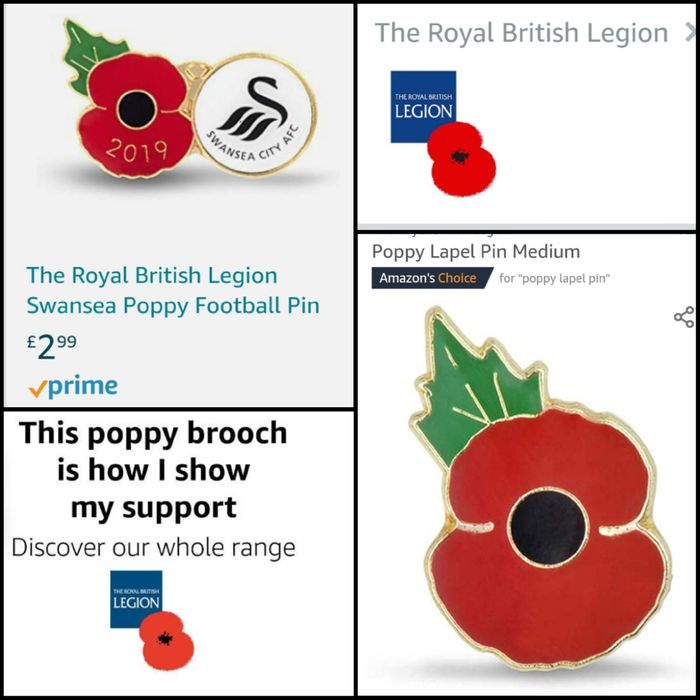 Poppies to Show Your Support. Poppy badge/Pins/brooch.