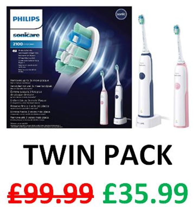 Amazon Deal of the Day - Philips Sonicare 2100 Electric Toothbrush. TWIN PACK