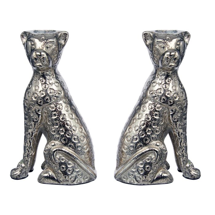 Leopard Dinner Candle Holders Set of 2