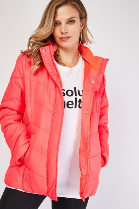 Neon Coral Quilted Hooded Jacket