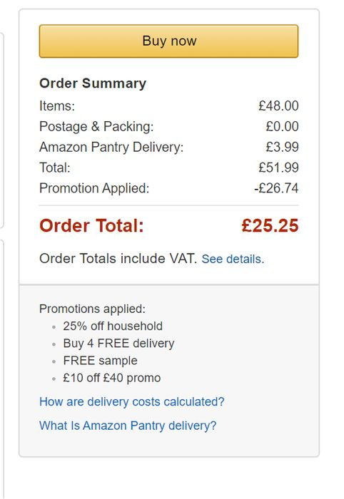 DEAL STACK - Amazon Pantry, 25% Off+Free Del+£10 off + Free Sample
