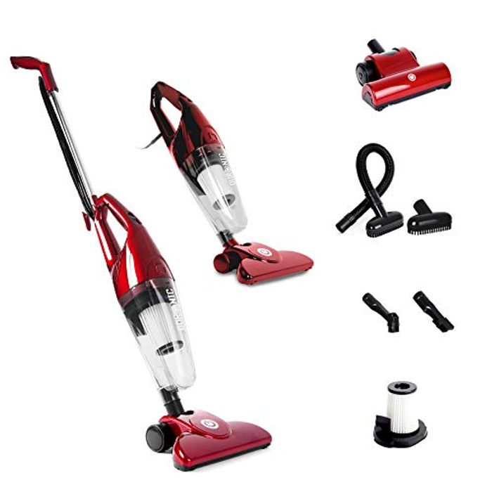 Duronic VC7/RD Upright Stick Vacuum Cleaner Handheld HEPA Filter Bagless