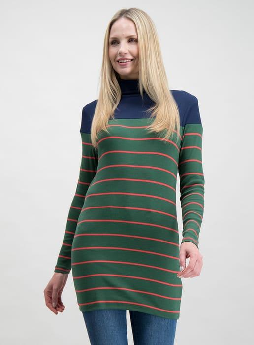 Green & Navy Stripe Roll Neck Tunic