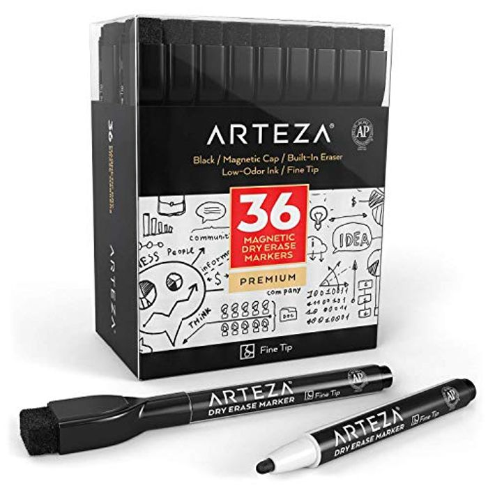 Dry Erase Markers with Eraser, Pack of 36 (With Fine Tip), Black Color