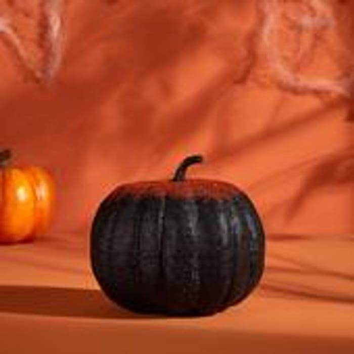 Morrisons Halloween Black & Orange Glitter Pumpkin
