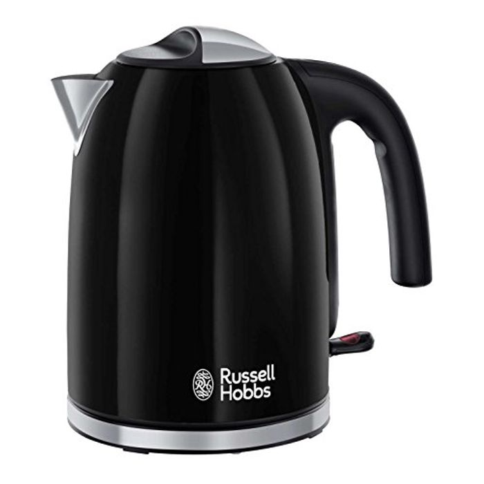Russell Hobbs Colour Plus Kettle, Stainless Steel, 3000 W, 1.7 Litre, Black