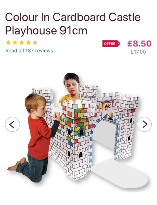 Colour in Cardboard Castle Playhouse 91cm