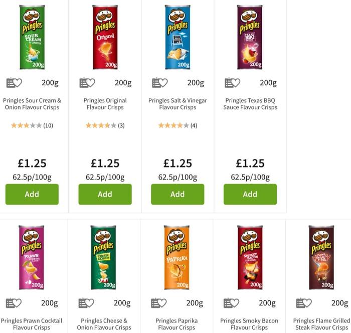 Best Price! Pringles Crisps 200g 10 Varieties £1.25 Each at Asda