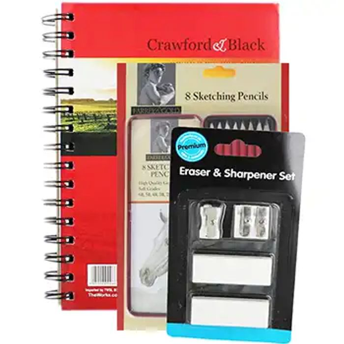 Crawford and Black A5 Sketch Pad with 8 Farrel with Gold Graphite Sketching...