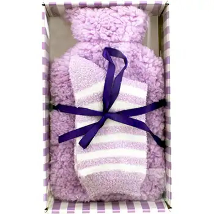 Cheap Lilac Super Soft Hot Water Bottle and Sock Set, Only £8!