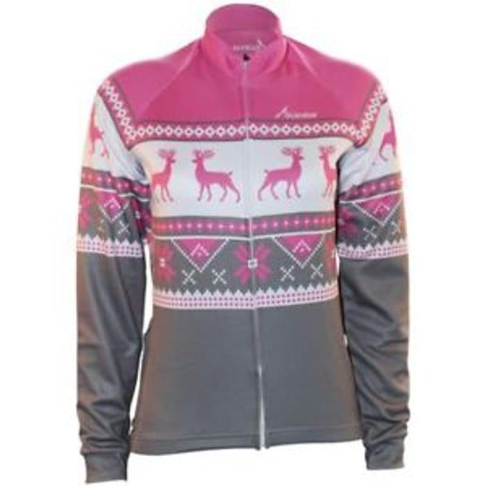 Scimitar Xmas Fairisle Pink Womens Bike Cycling Warm Full Zip Long Sleeve Jersey