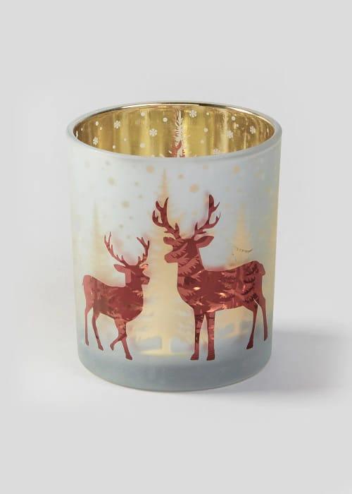 Reindeer Mercury Effect Christmas Tealight Holder