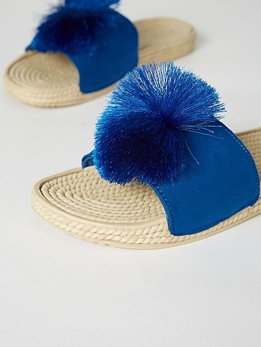 Royal Blue Rope Pom Pom Mule Sandals