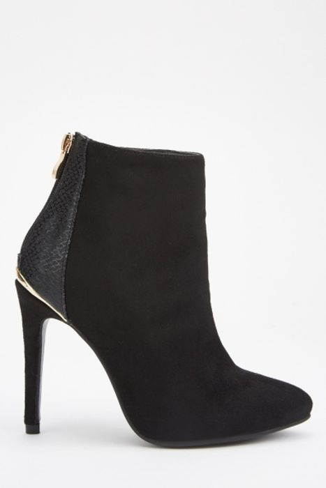 Contrasted Back Ankle Heeled Boots