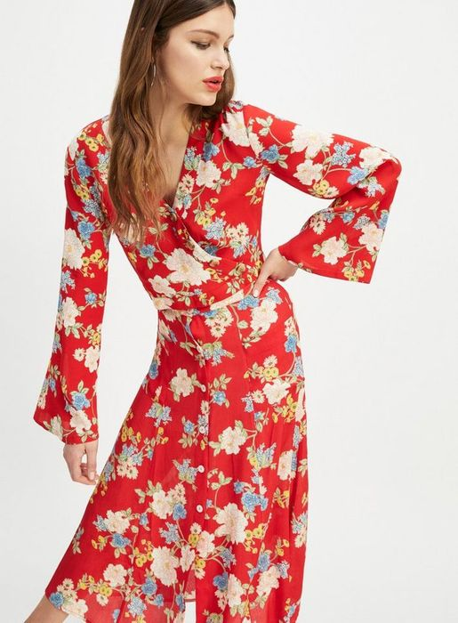 Red Floral Print Wrap Button Top