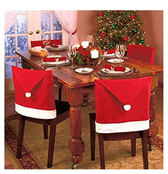 Chair Back Cover Christmas Dinner Table Party Dcor, Red, Pack of 6