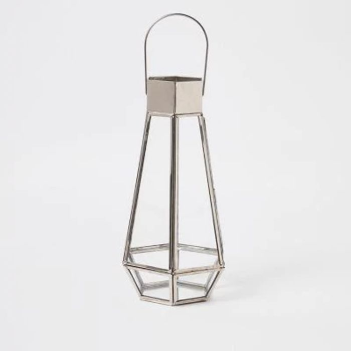 Silver Tall Glass Lantern Down From £20 to £12