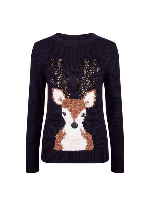 Navy Christmas Sequin Reindeer Jumper Was £28.00 Now £22.40
