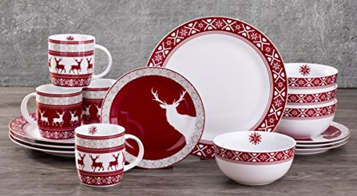 Nordic Reindeer 16-Piece Dinner Set On Sale From £79.99 to £30