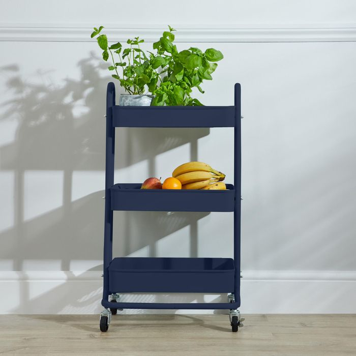 House Keeping 3 Tier Navy Kitchen Storage Trolley