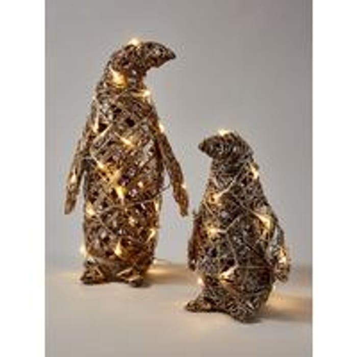 Rattan Lit Penguin Christmas Decorations (Set of 2)