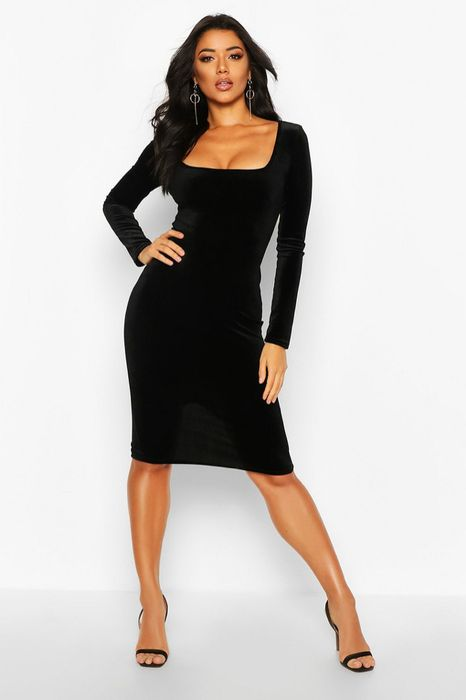 Velvet Long Sleeved Black Midi Dress, Half Price!