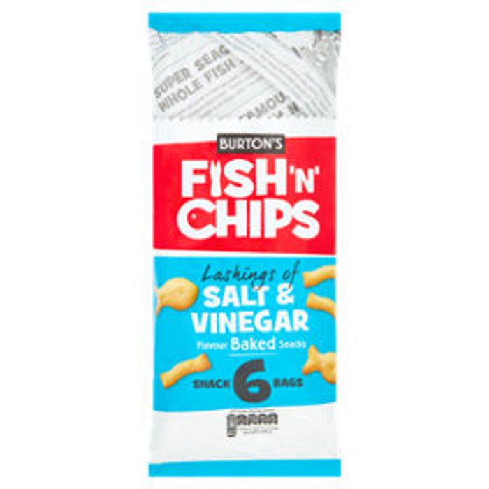 Burton's Fish 'N' Chips Salt & Vinegar 6x25g