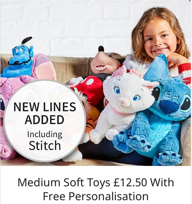 Medium Soft Toys with free personalisation + free delivery at Disney