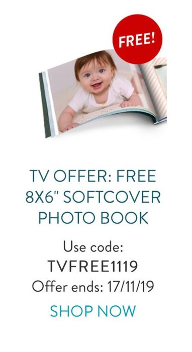 """Tv Offer: Free 8x6"""" Softcover Photo Book ( £2.99 Post)"""