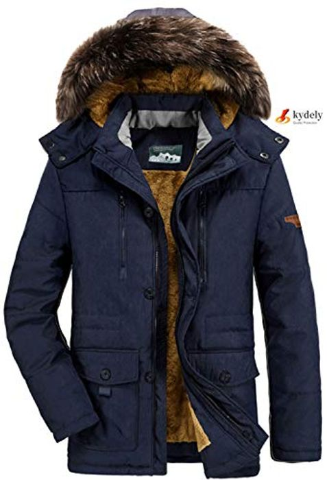 Men's Parka Winter Coats Jackets with Faux Fur Lined Thicken Warm Coat Hooded