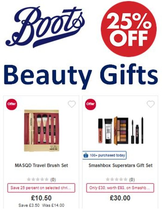 400+ Beauty Gifts - Now 25% Off at Boots