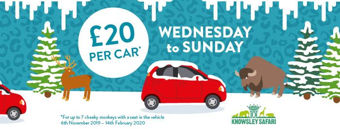 Knowsley Safari Park £20 per Car Wed - Sun until Feb 2020!