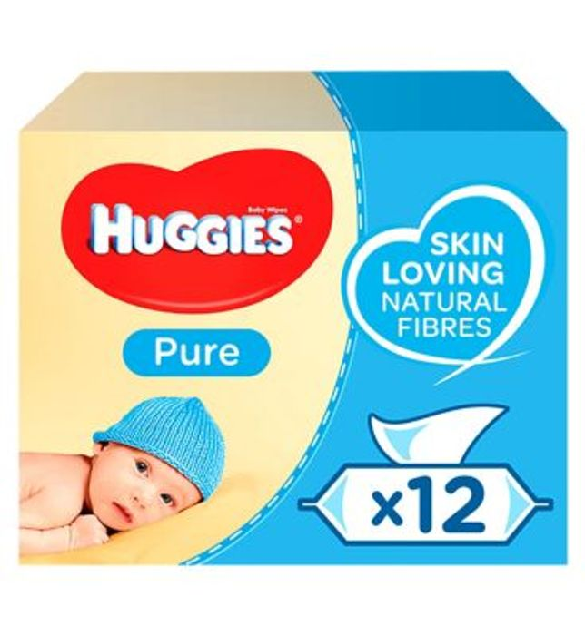 Huggies Pure Baby Wipes, 12 X 56 Pack = 672 Wipes