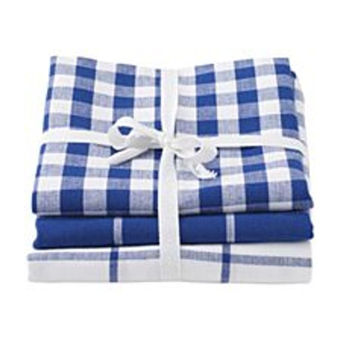 Stow Green Pack of 3 Tea Towels - Blue Checks